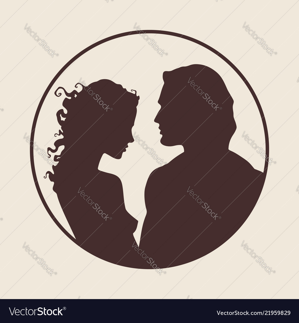 Beautiful man and woman silhouettes in profile