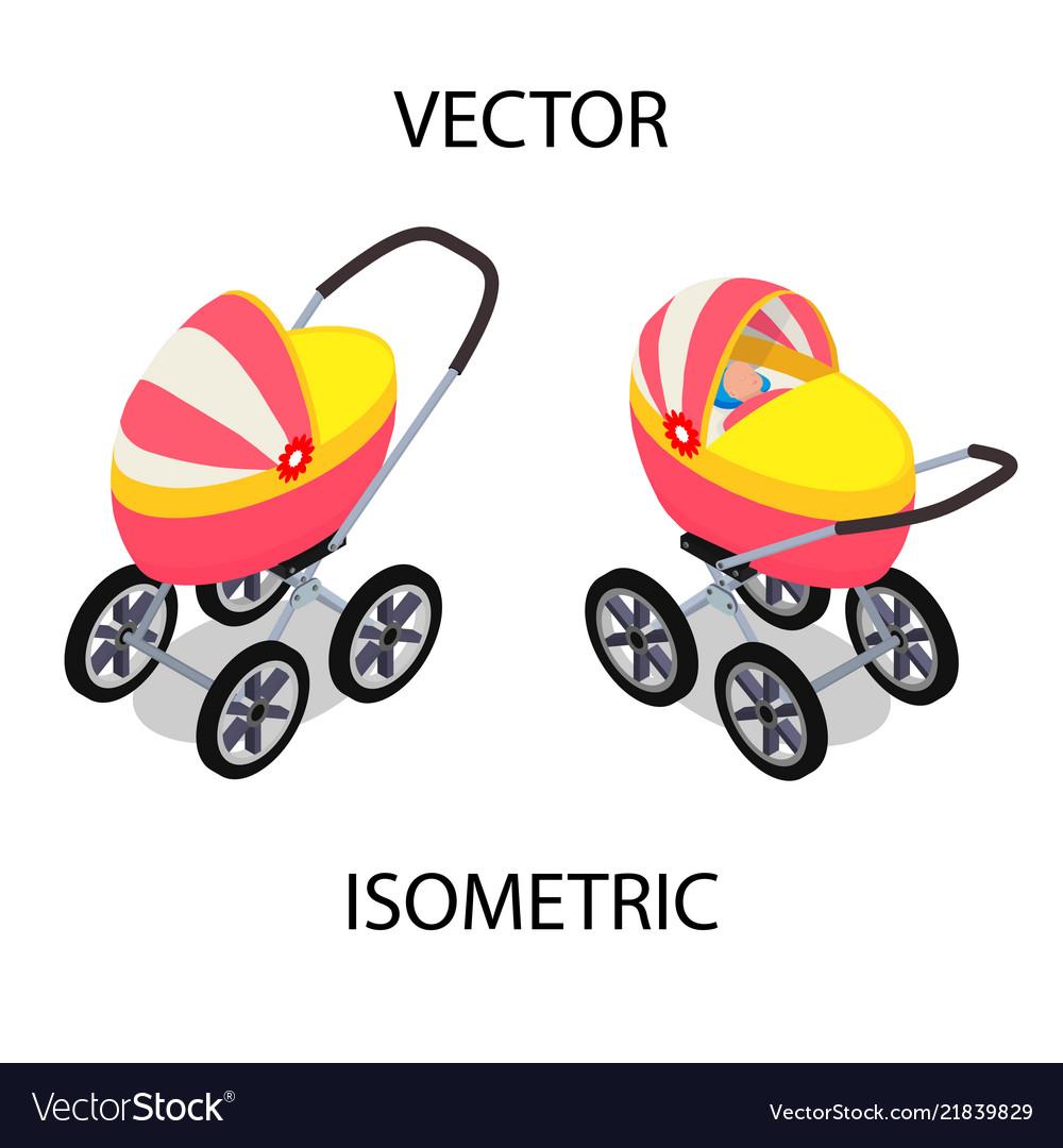 Bright baby stroller for summer walks