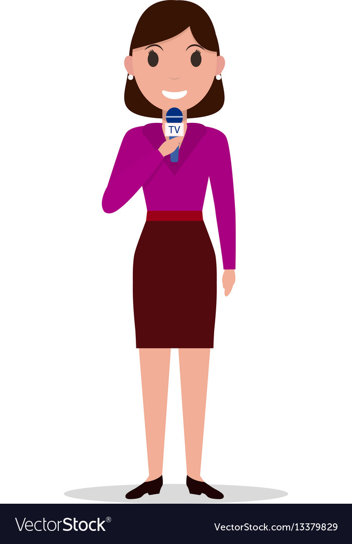 Cartoon girl reporter with a microphone