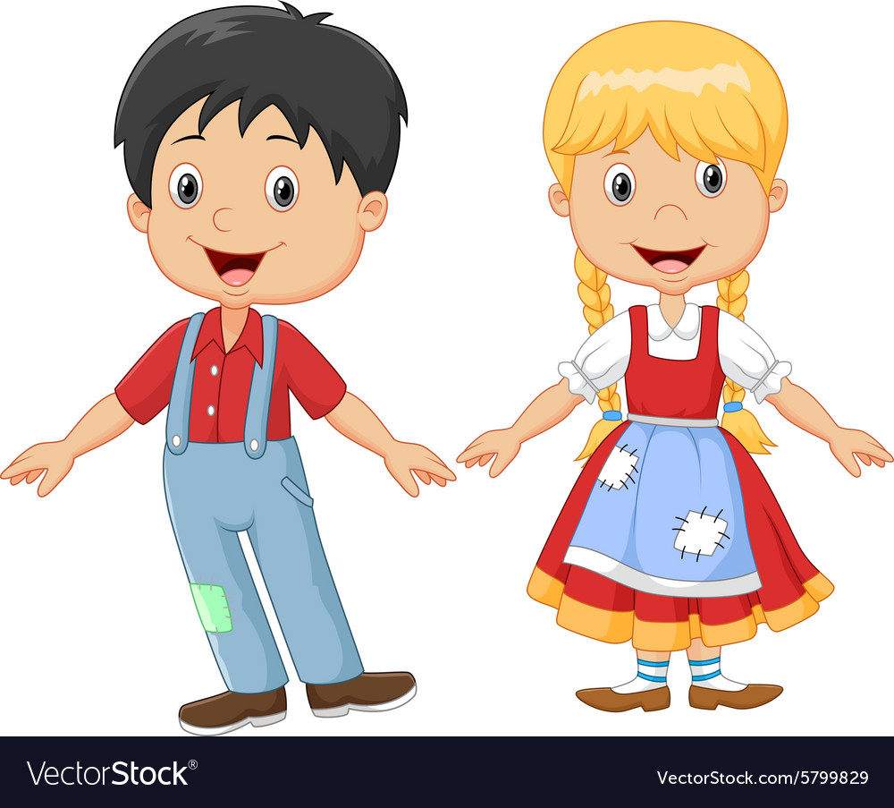 cartoon little kid happy hansel and gretel vector image rh vectorstock com Hansel and Gretel Cartoon hansel and gretel clipart black and white