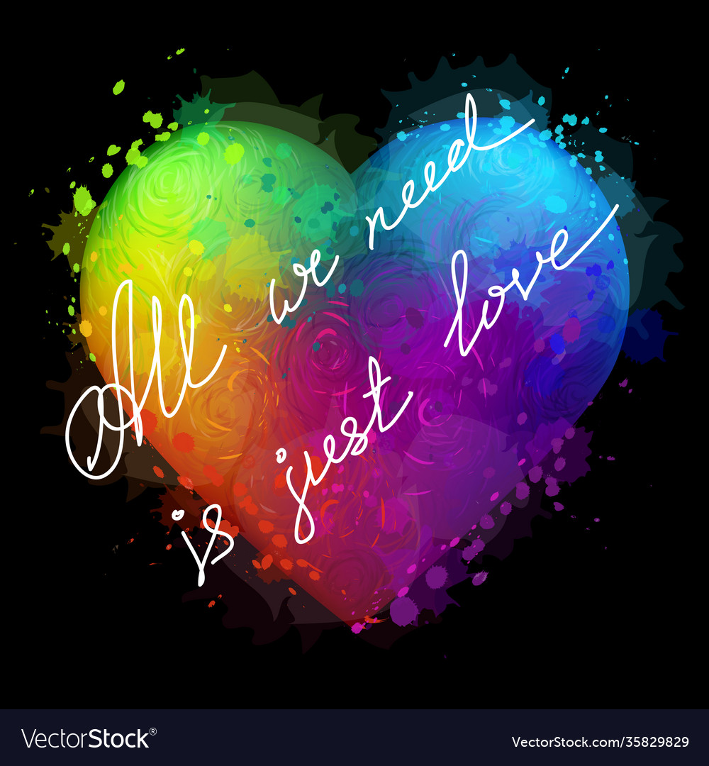 Colorful neon heart
