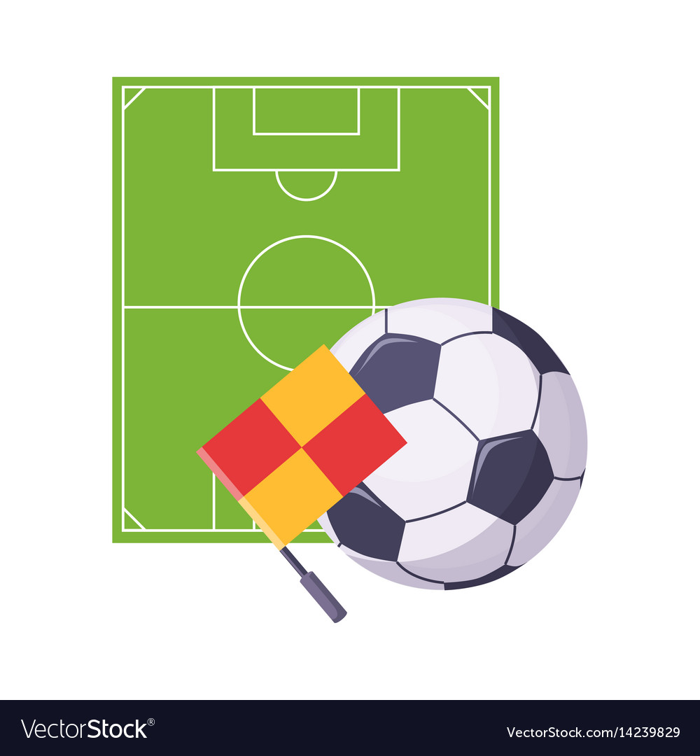 Football field ball and flag set of school and vector image