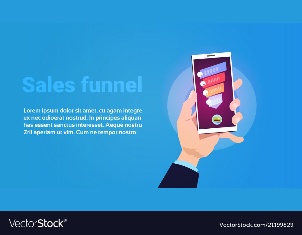 Hand hold phone mobile application sales funnel