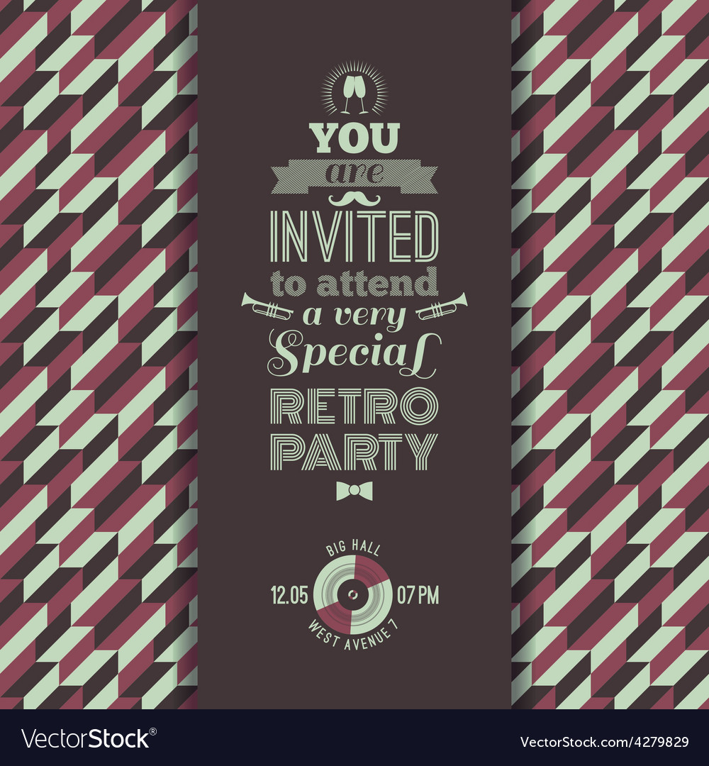 Invitation to retro party vintage retro geometric vector image stopboris Choice Image