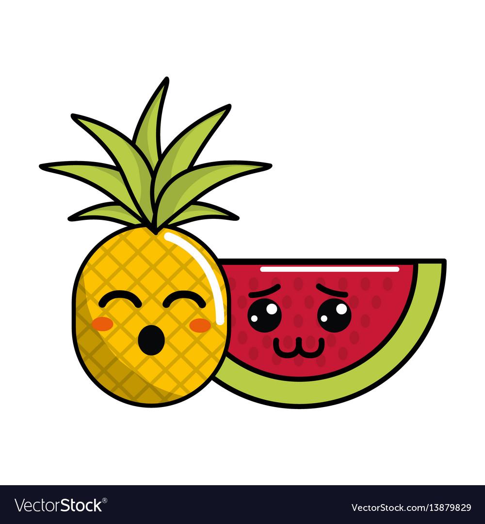 Kawaii Funny Pineapple And Shy Watermelon Icon