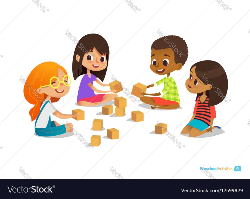 kids sit on floor in circle Vector Image