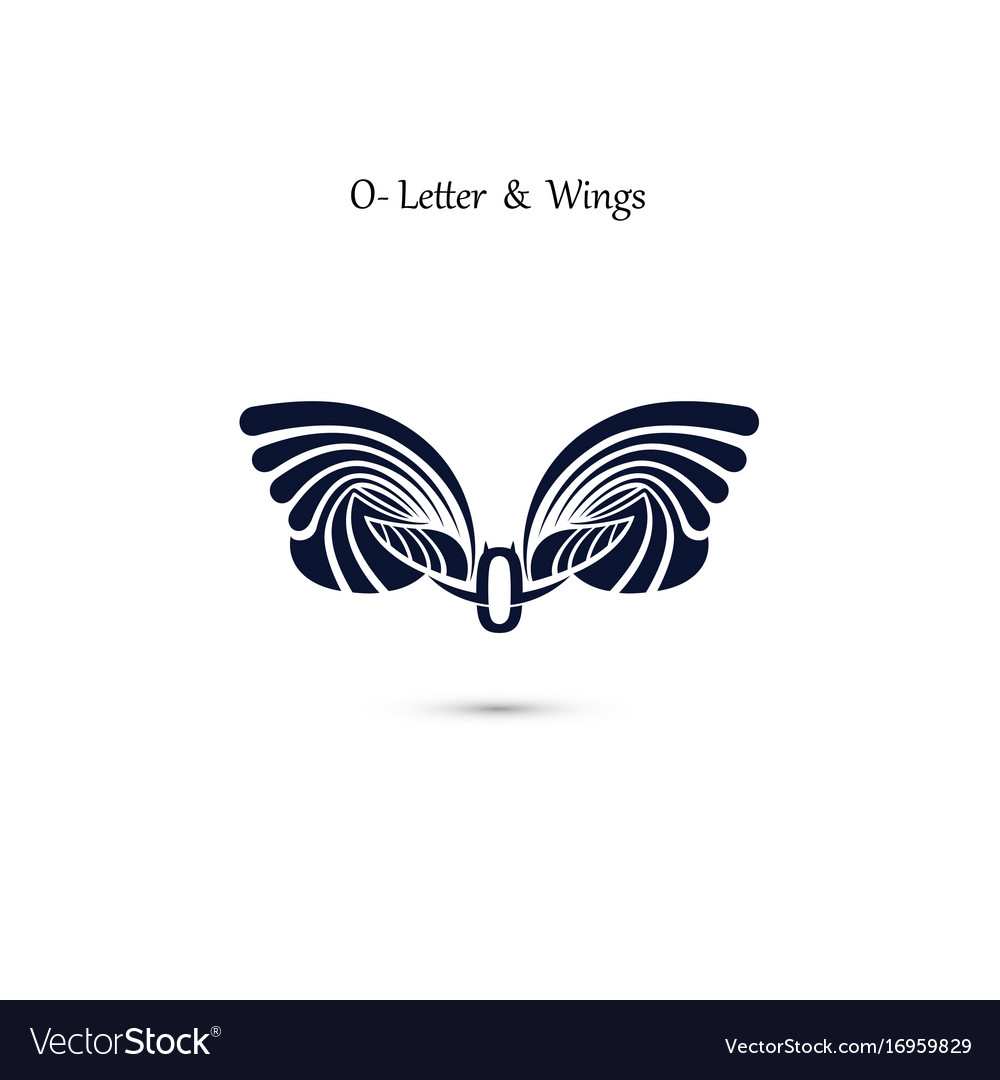 O letter sign and angel wings monogram wing logo