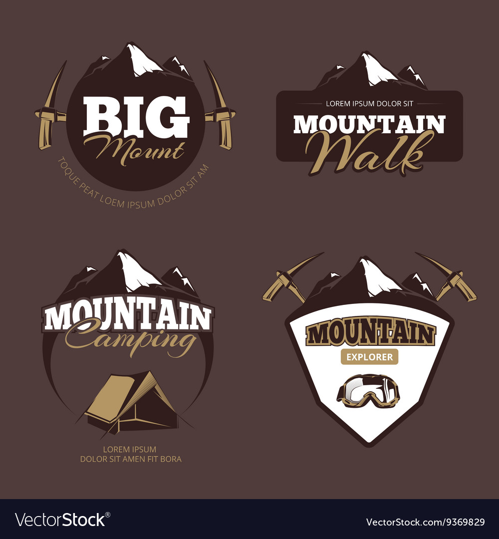 Outdoor mountain camping alpinism emblems