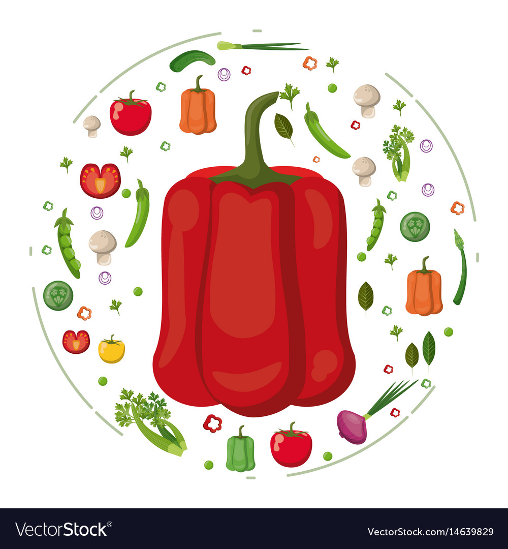 Red pepper with vegetables tasty food
