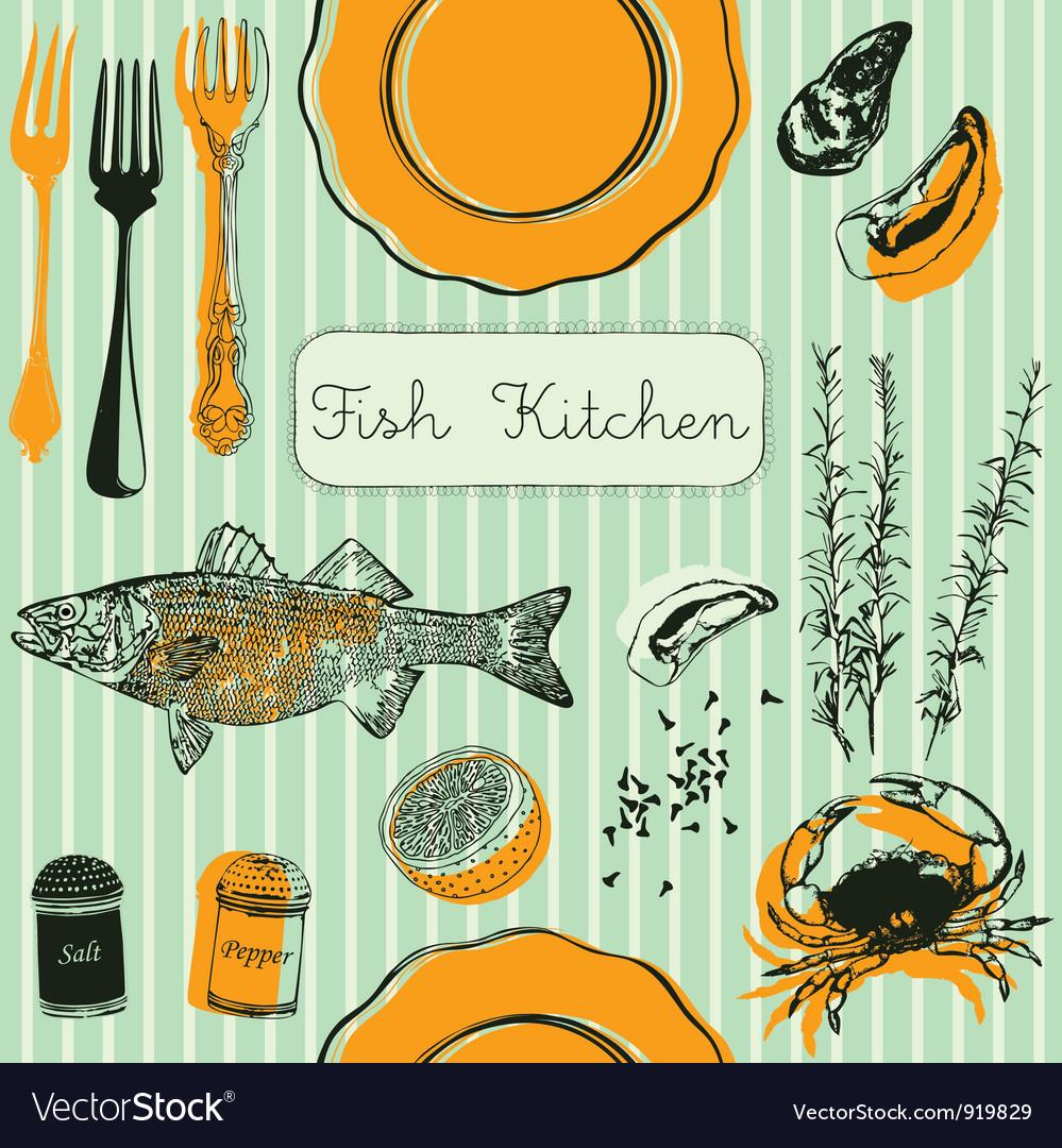 Retro Fish Kitchen Pattern Background