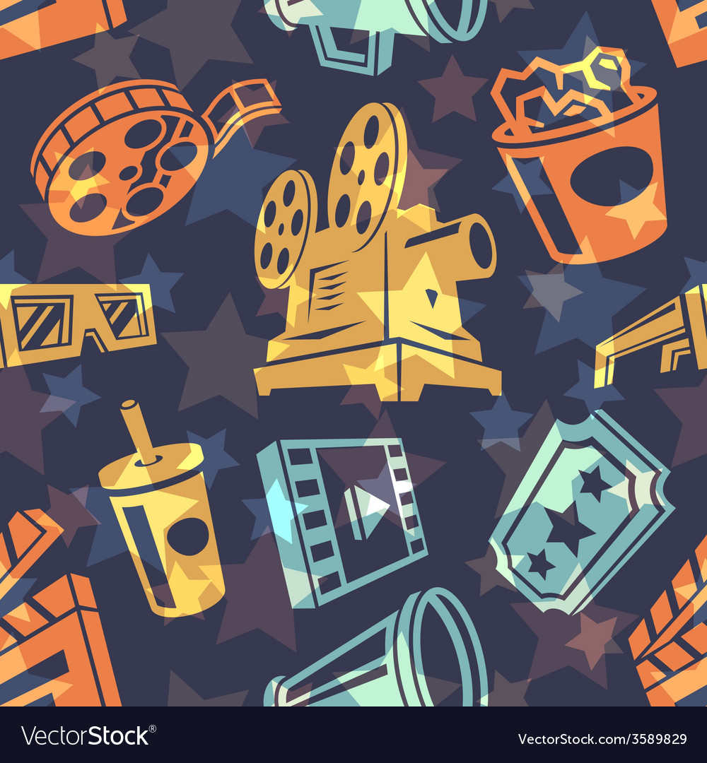 Seamless pattern with cinema icons