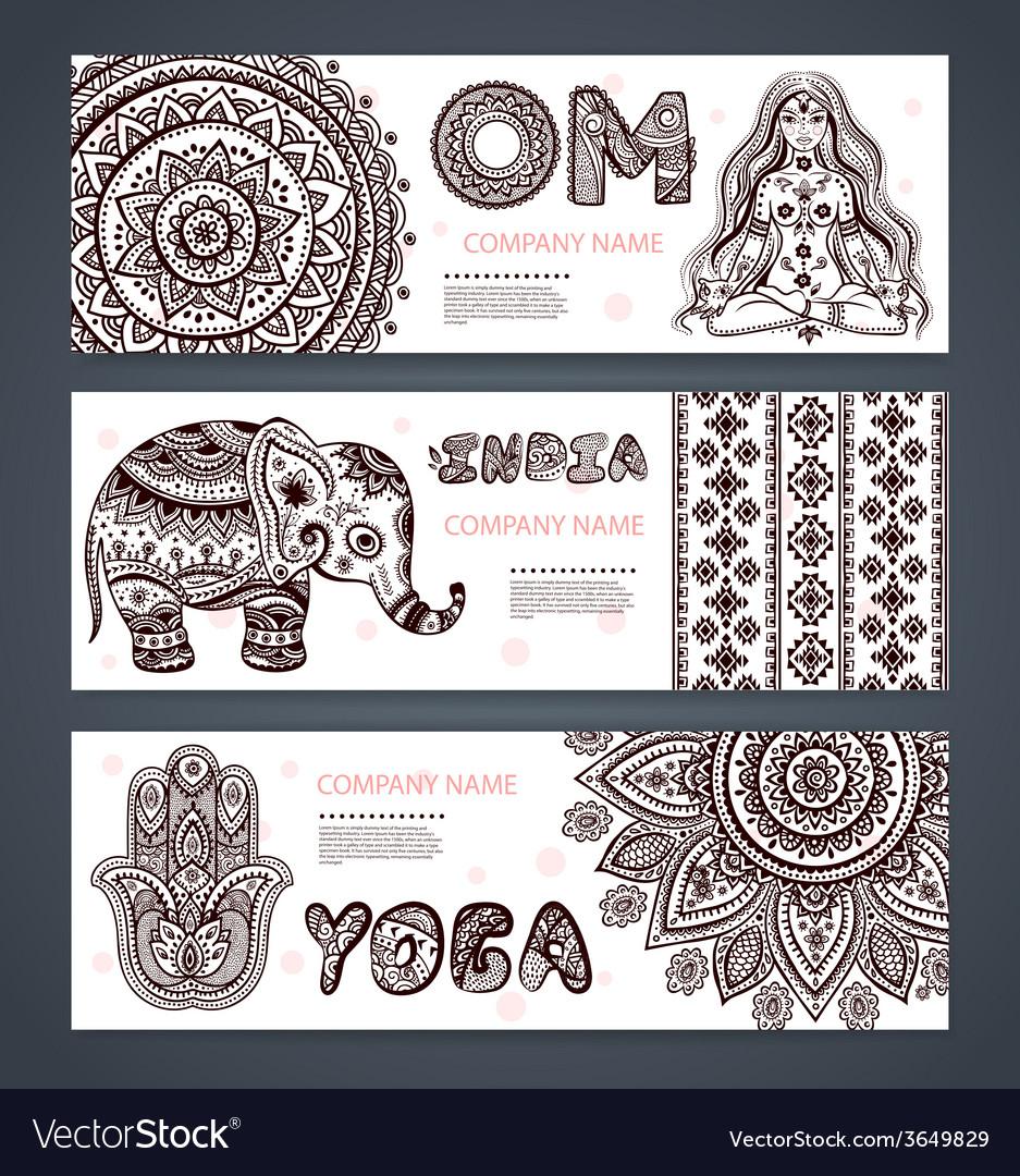 Set banners with ethnic and yoga symbols