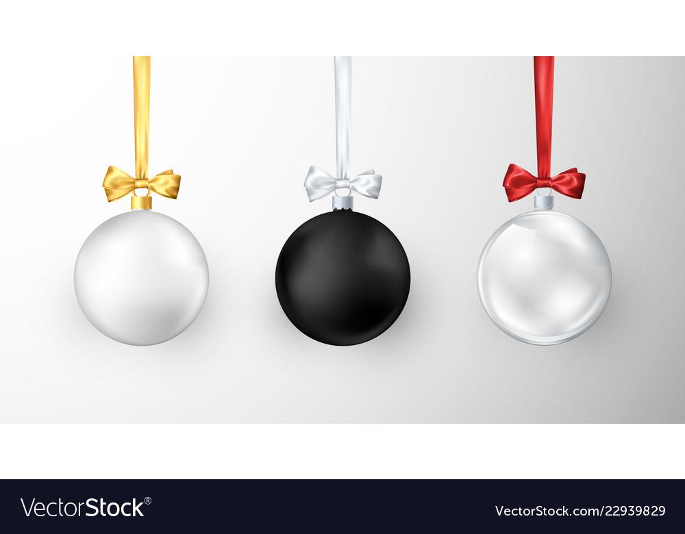 Set of christmas balls realistic glossy xmas and