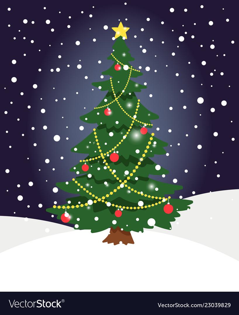 Snow xmas tree winter evergreen christmas tree