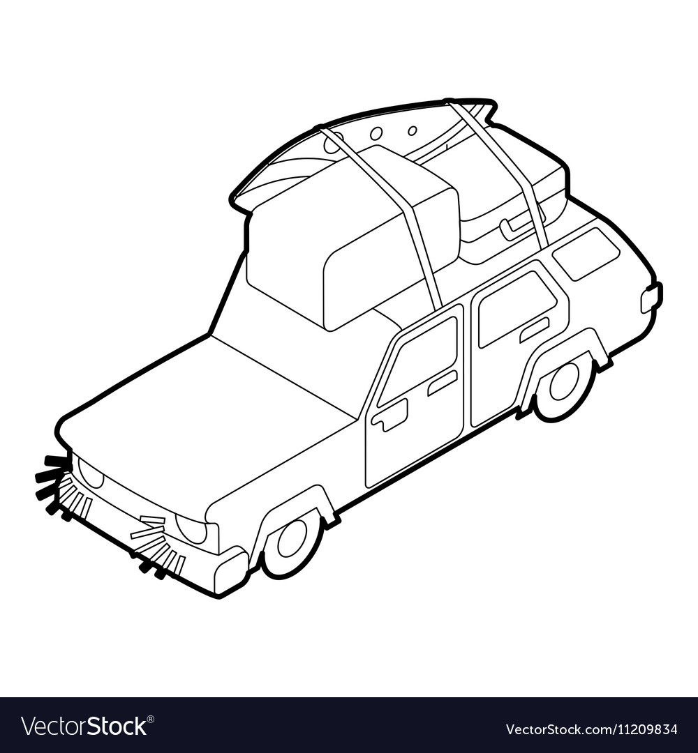 Car with luggage on the roof icon outline style