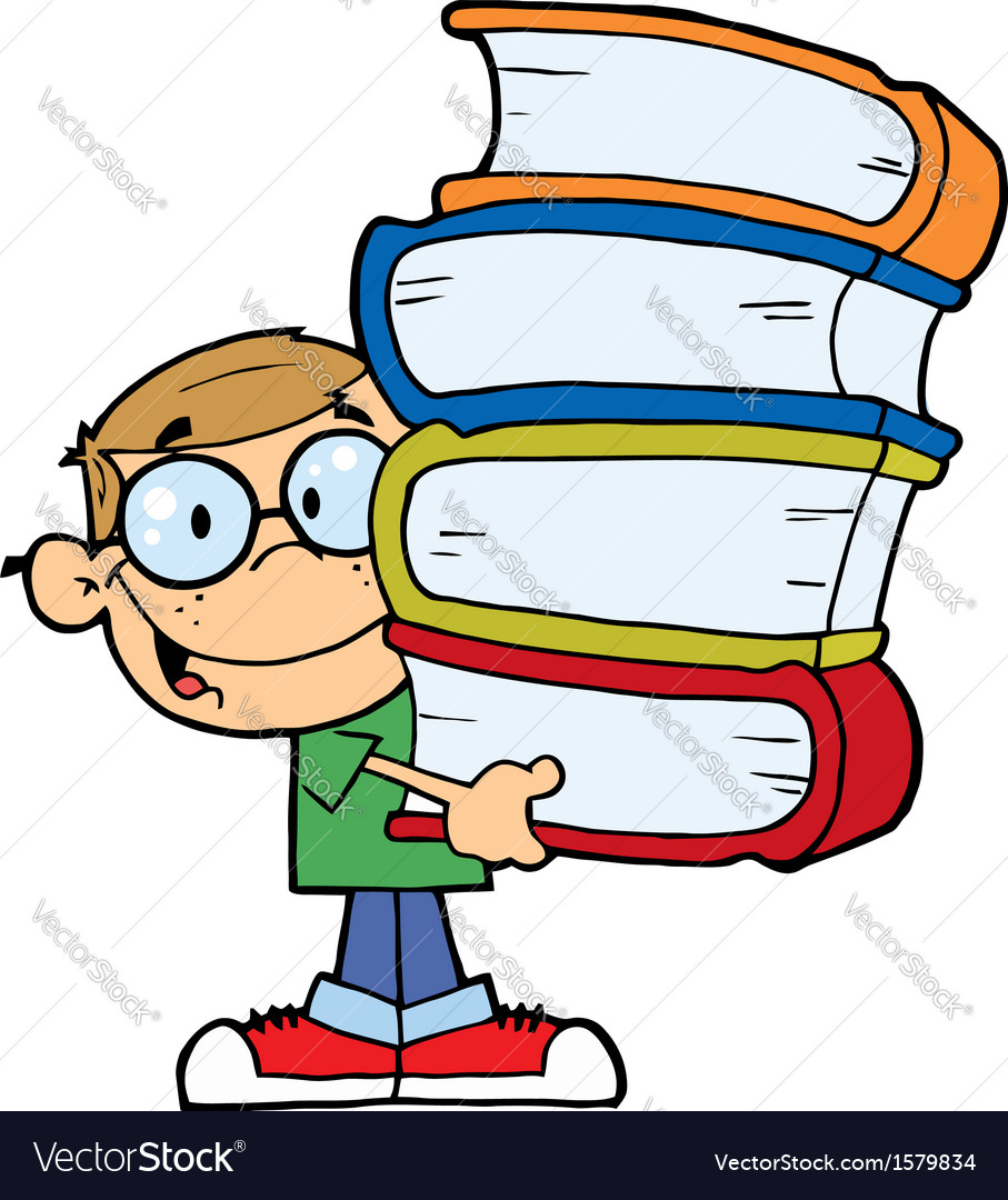 child holding books cartoon royalty free vector image