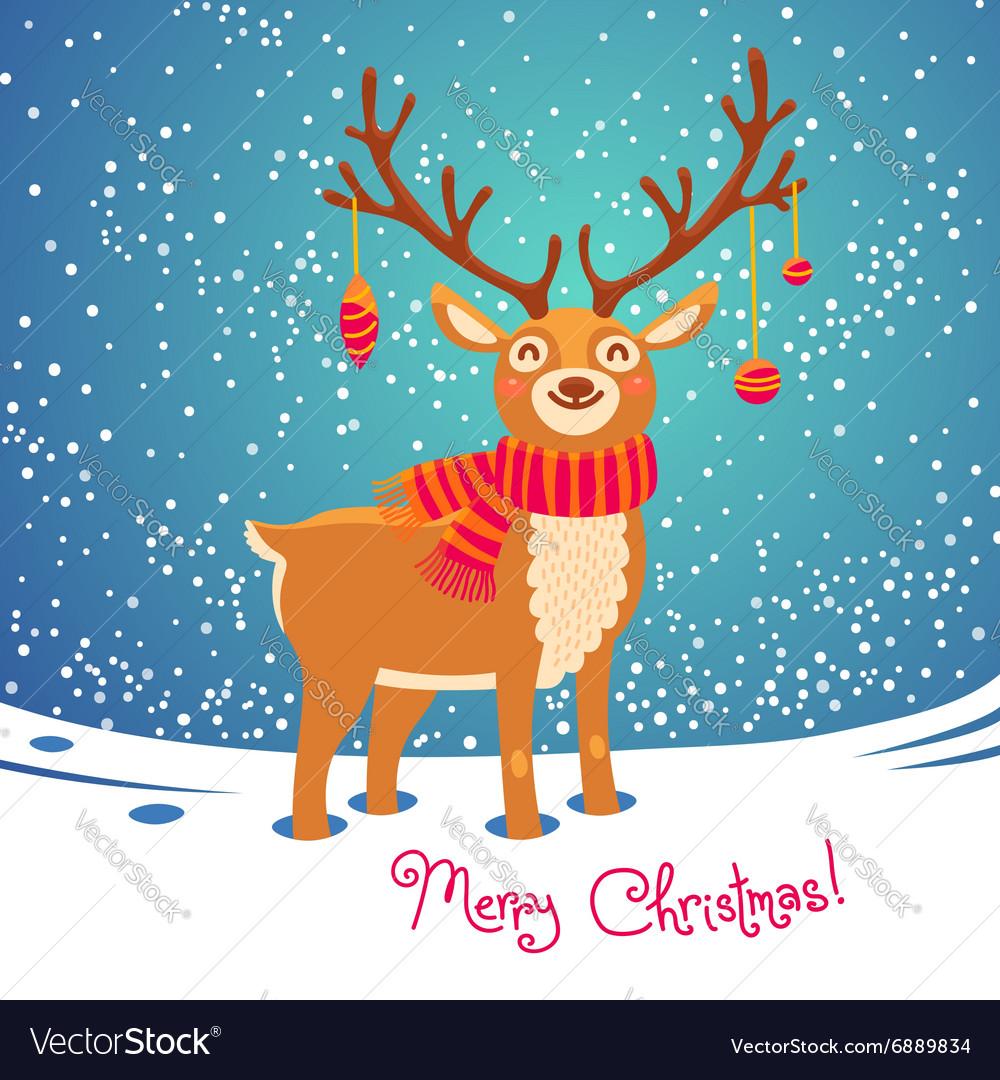 Christmas card with reindeer cute cartoon deer