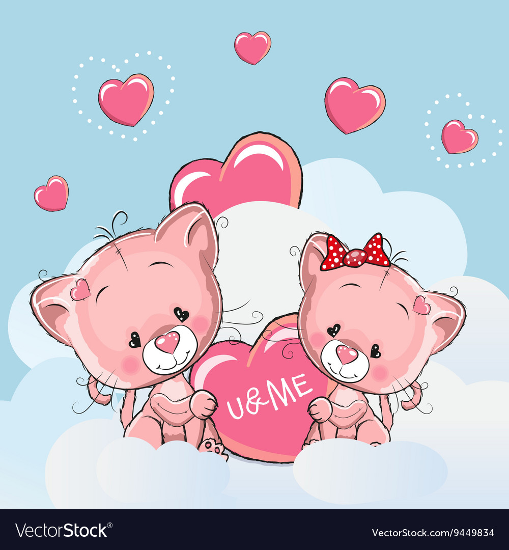 Cute Lovers Kittens vector image