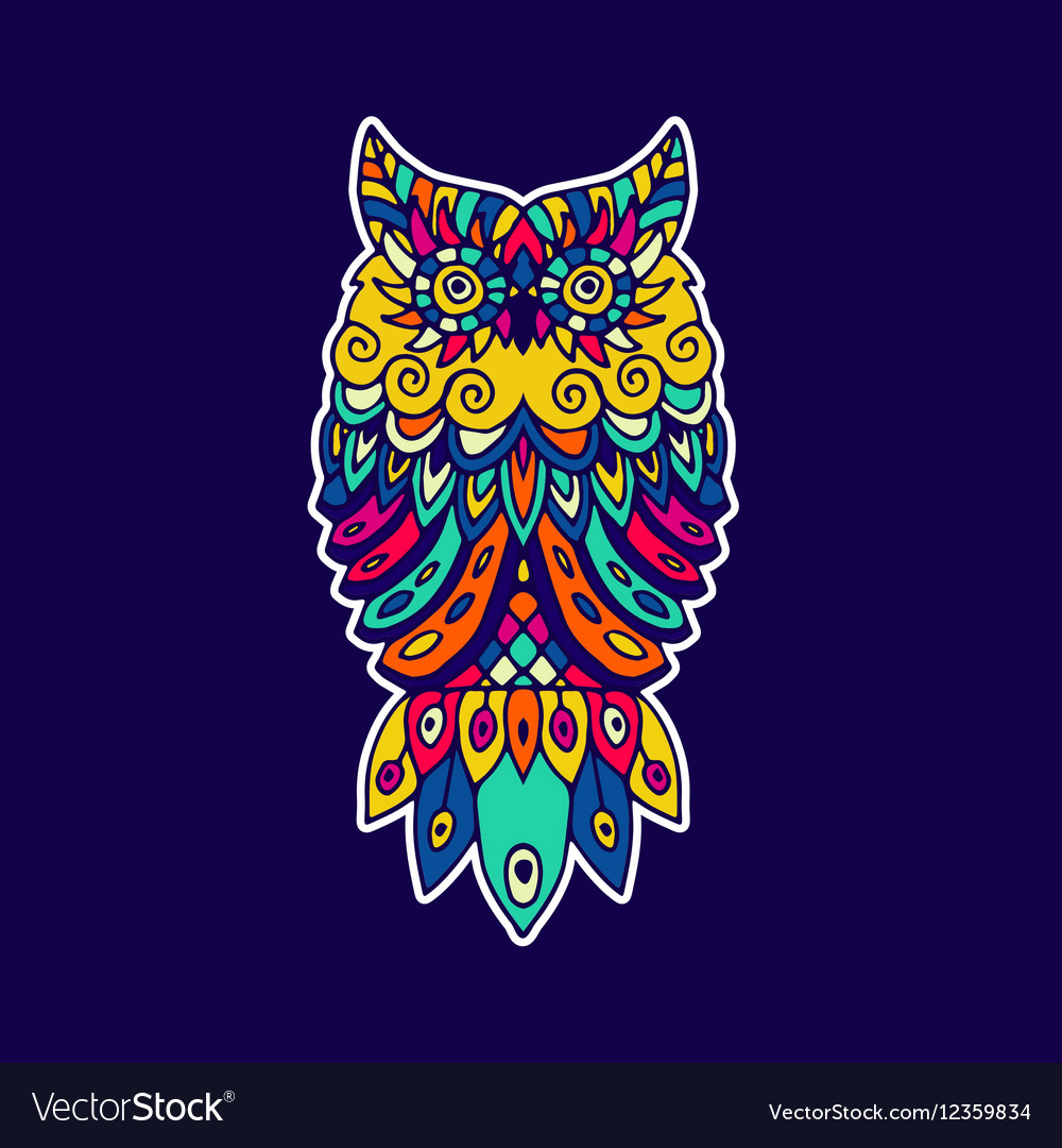 Ethnic pattern with the image of an owl