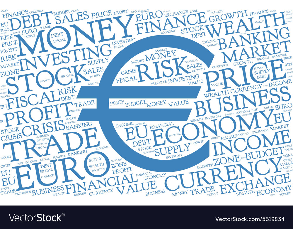 Euro Word Cloud With Symbol Of Currency Royalty Free Vector