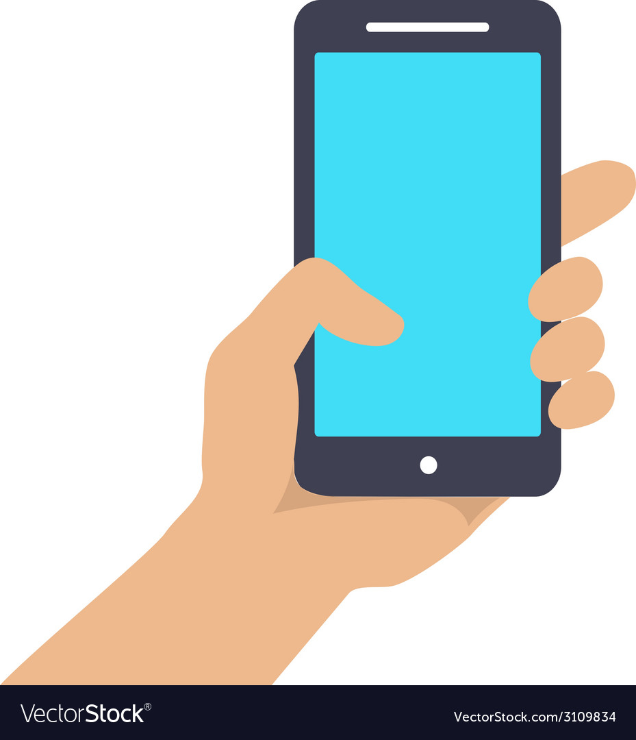 Hand holding Smart phone showing screen isolated vector image
