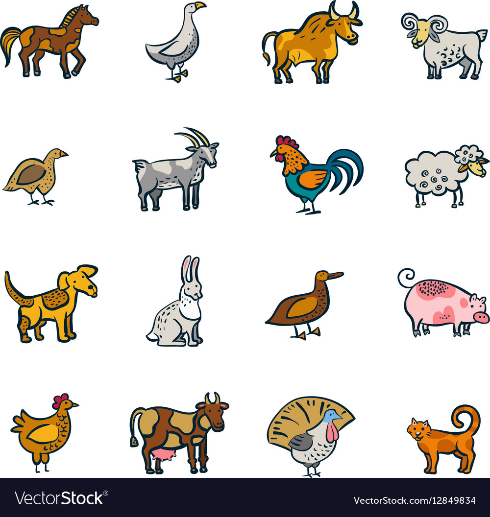 Line Farm Animals Set