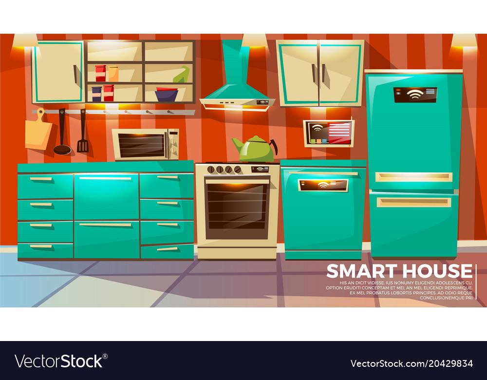Modern Smart Kitchen Interior Royalty Free Vector Image