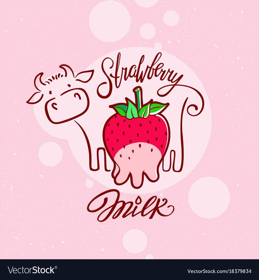 Red sweet berry with a cow drawing strawberry milk