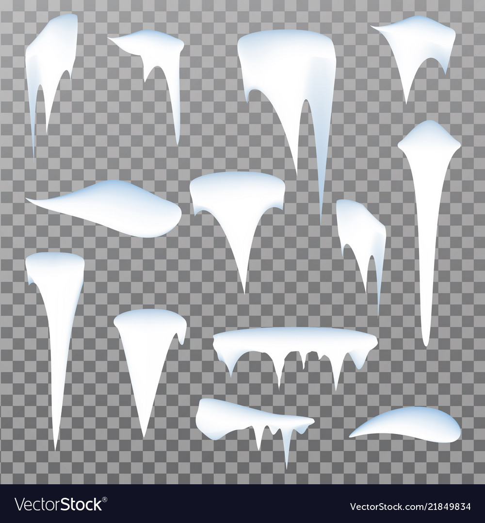 Set of snow icicles isolated on transparent