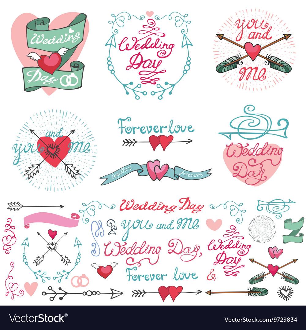 Wedding doodle decor elements setromantic labels