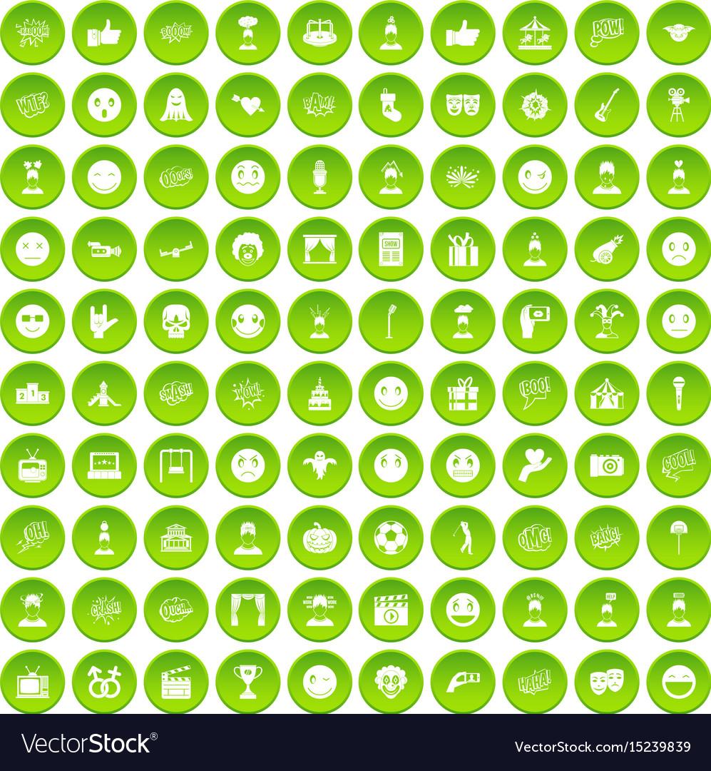 100 emotion icons set green circle