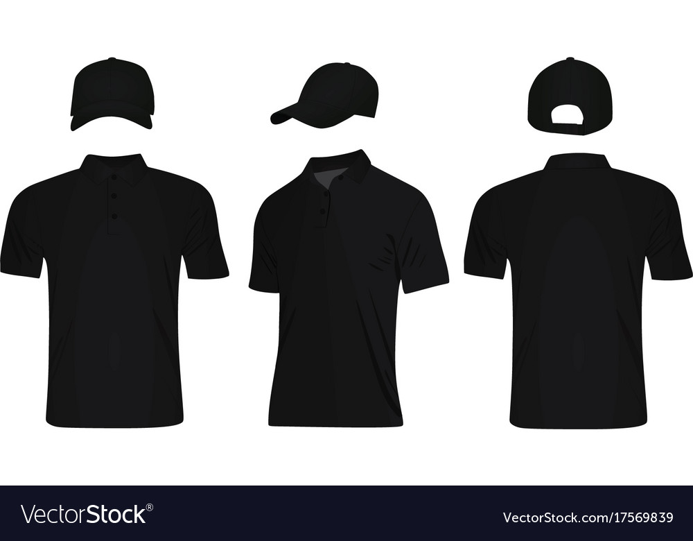 e60c2f7ed Black polo t shirt and baseball cap Royalty Free Vector
