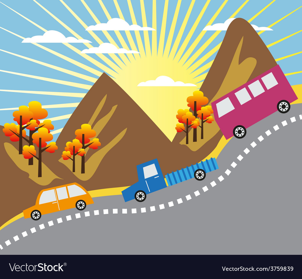 Cartoon mountain ride background