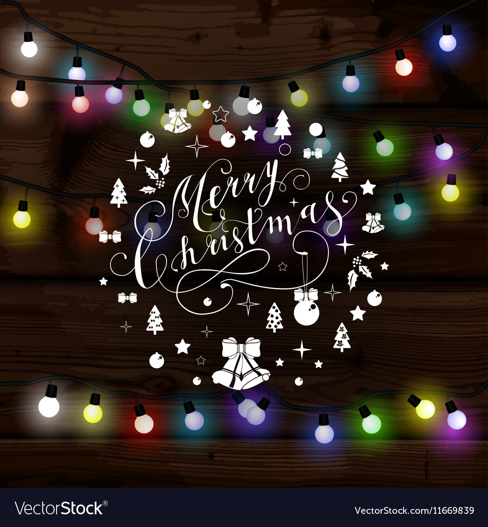 Merry Christmas Lights.Christmas Lights Poster With Shining And Glowing