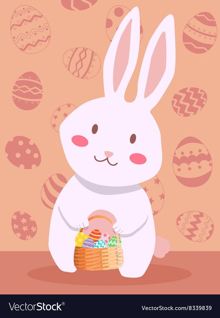 Easter Rabbit Carrying Easter Egg Basket