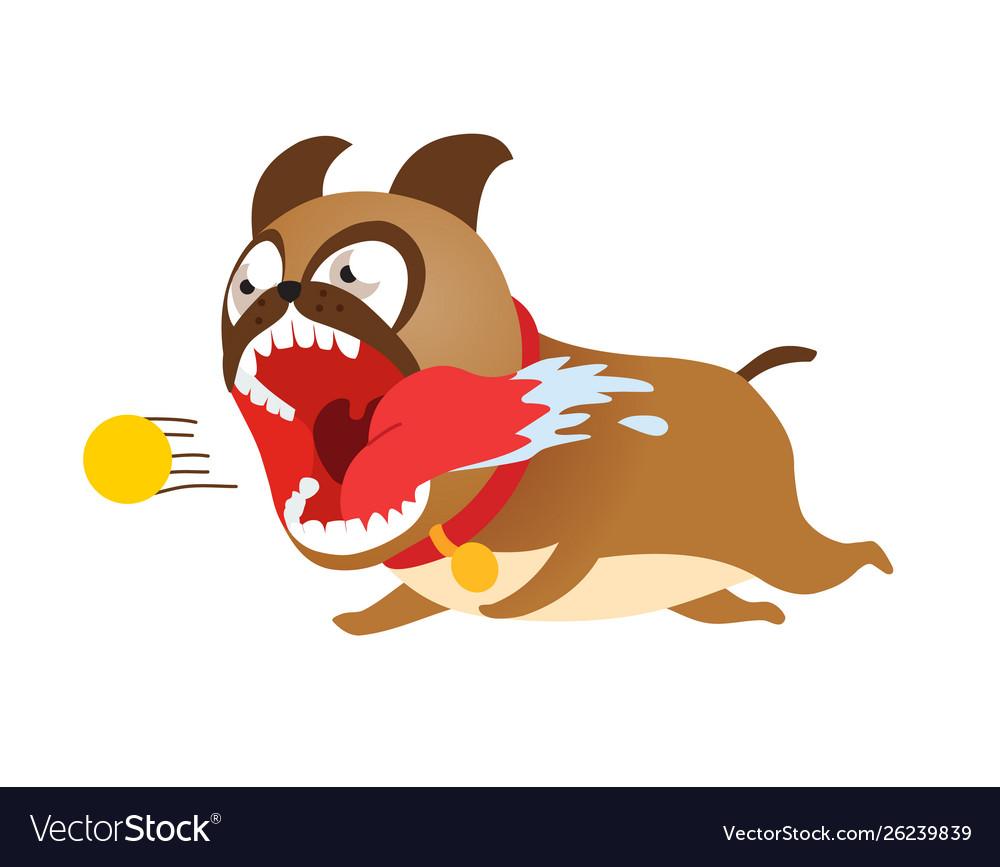 Funny cartoon dog running after tennis ball cute