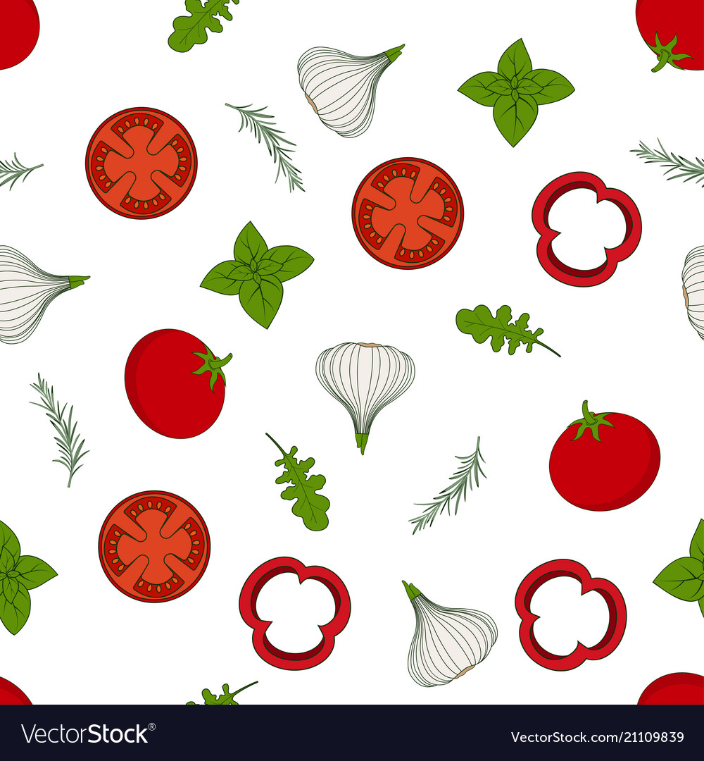 Pattern with arugula and vegetables