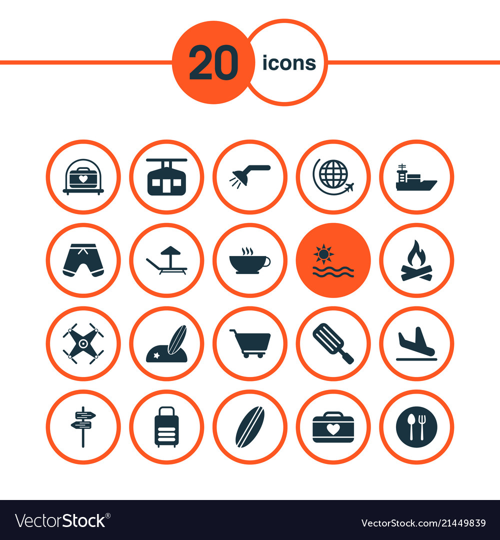 Travel icons set with plane landing pointers sea