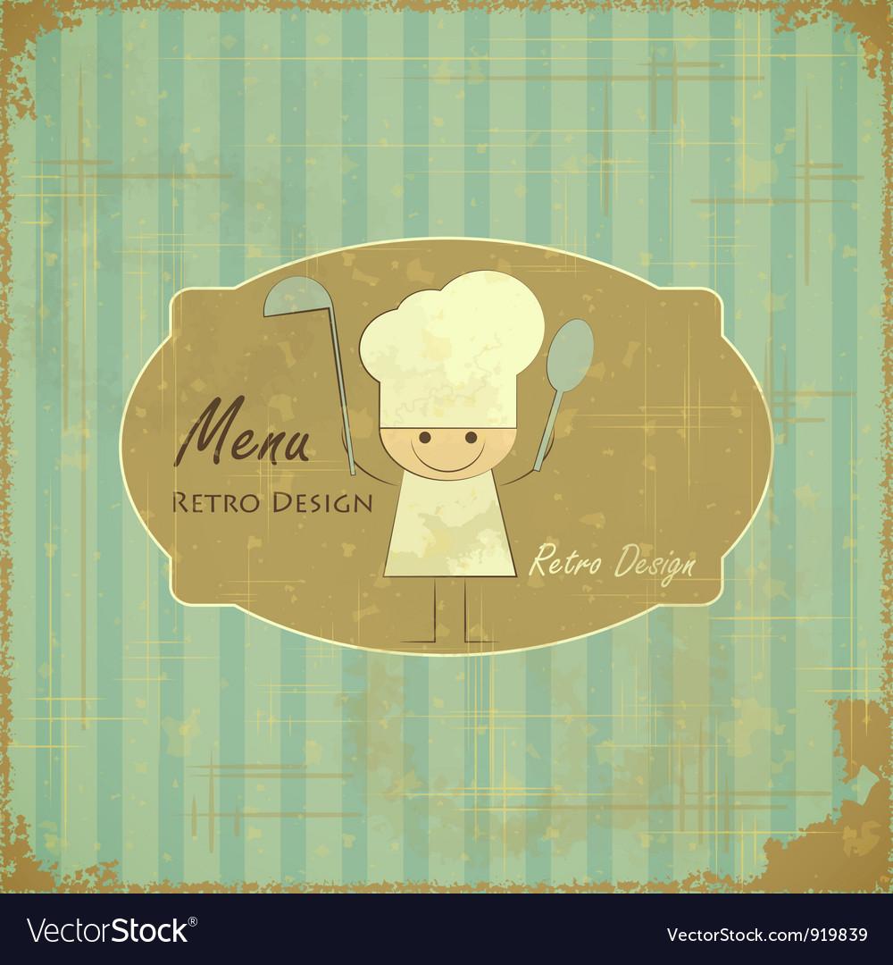 Vintage Menu Card Design with chef vector image
