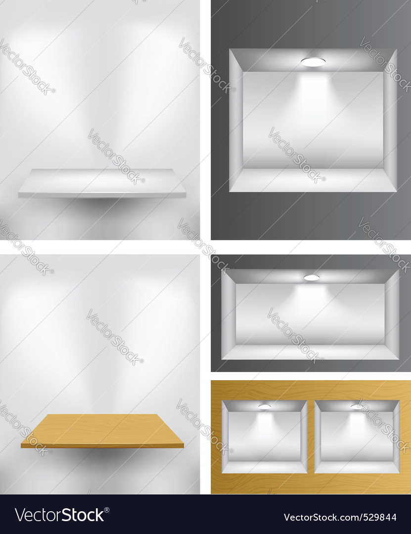 3d empty shelves