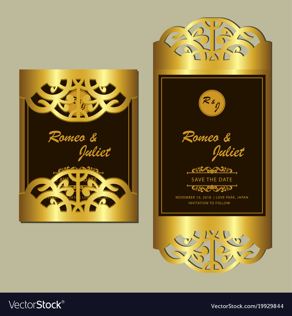 elegant golden wedding card royalty free vector image