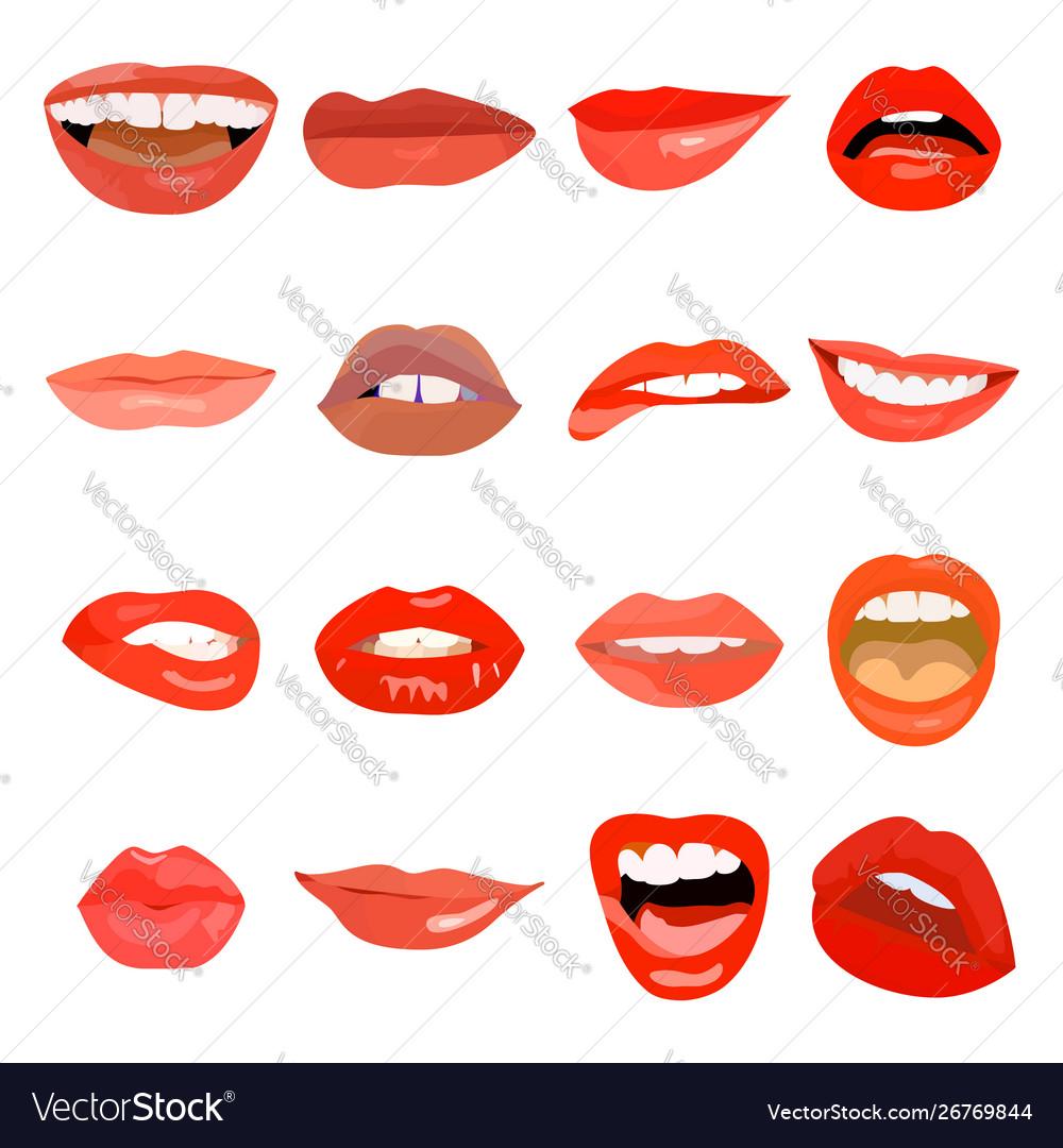 Female lips set on sweet passion lip design