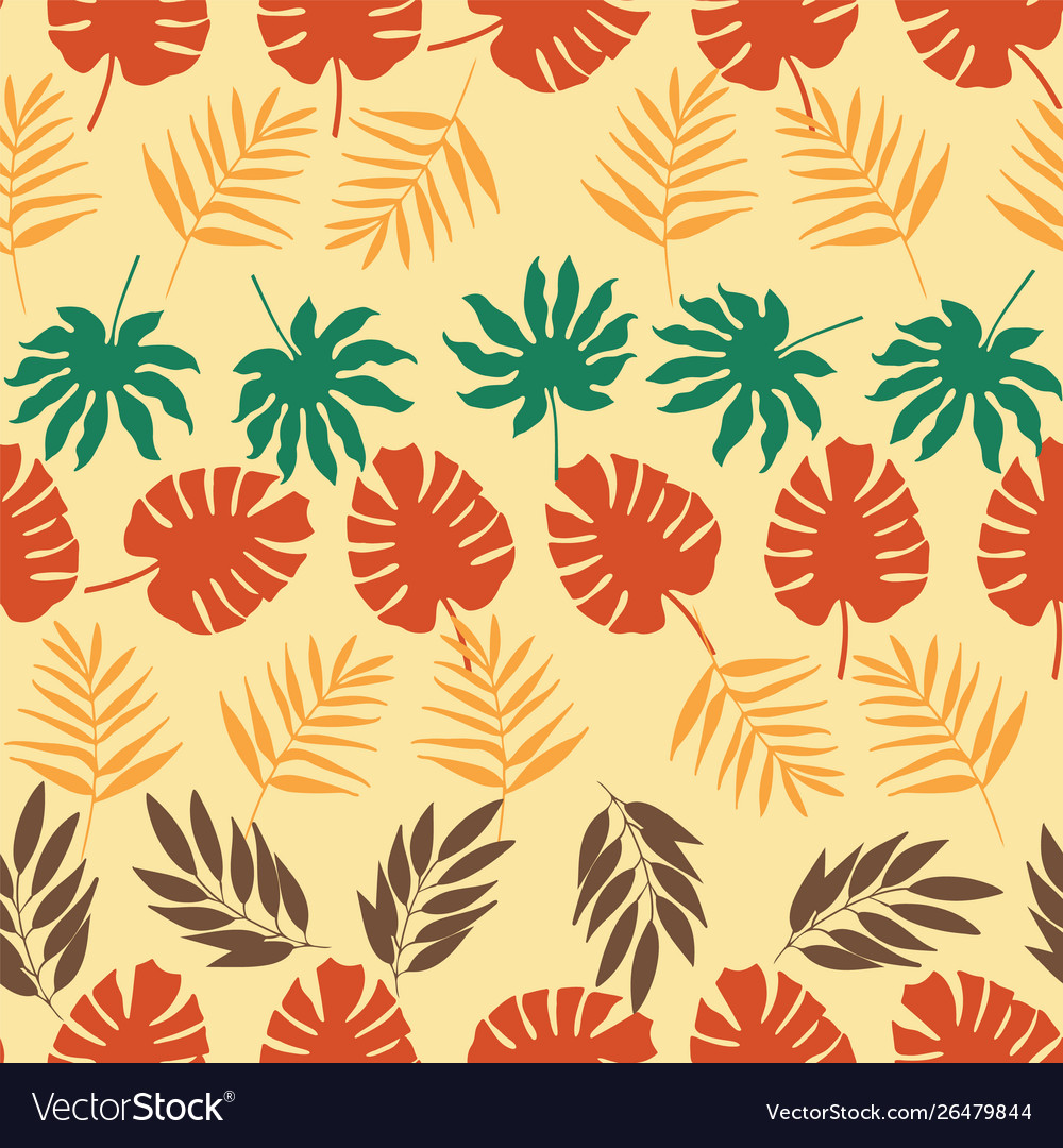 Horizontal rows tropical leaves seamless