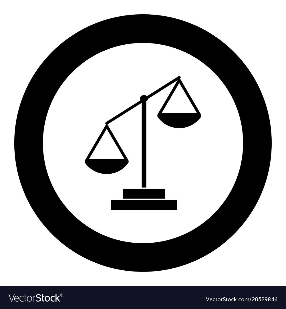 law scale icon black color in circle royalty free vector
