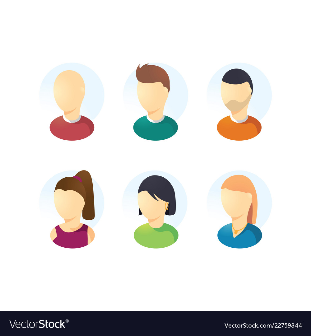 Male and female faces user avatars isolated on