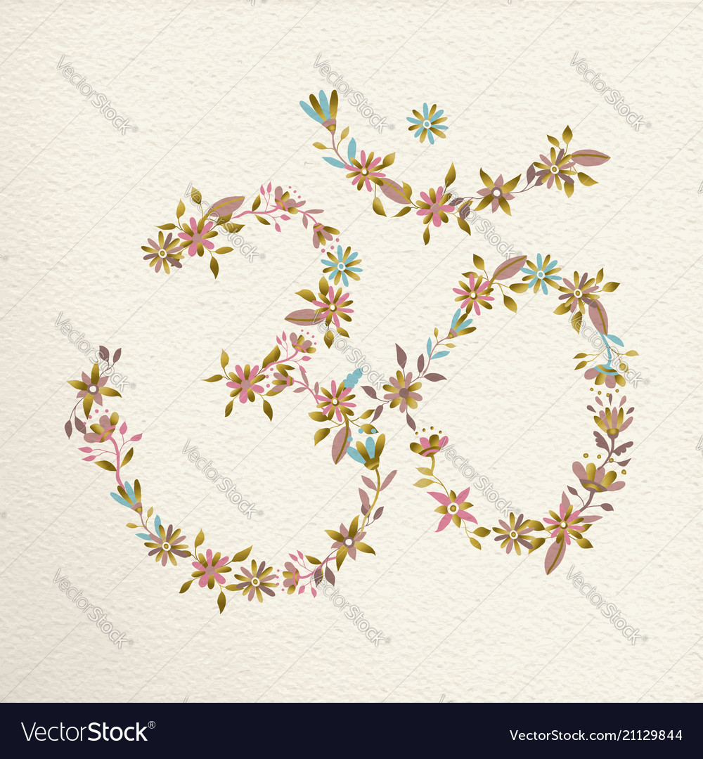 Om symbol made of flowers for yoga vector image