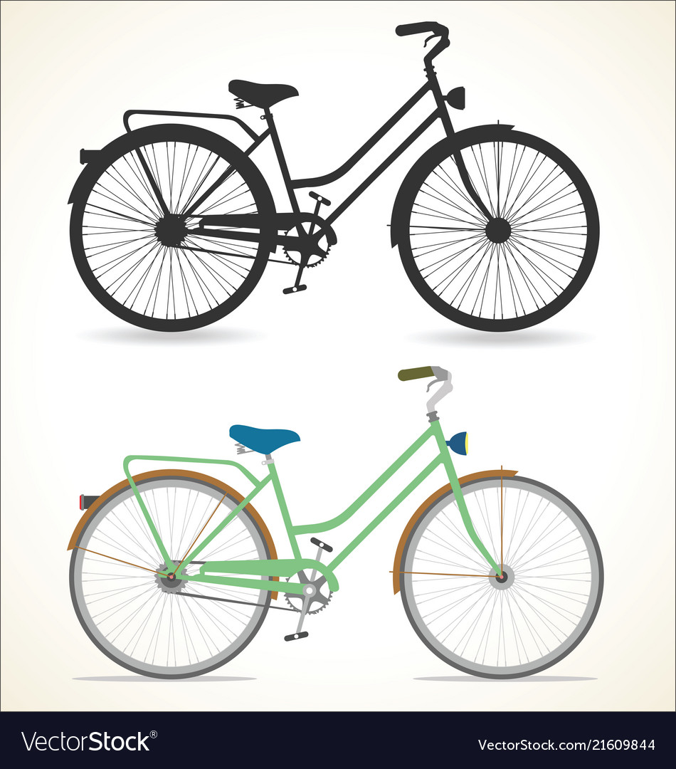 Retro vintage bicycle silhouette isolated on