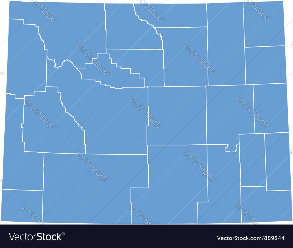 State Map of Wyoming by counties Royalty Free Vector Image