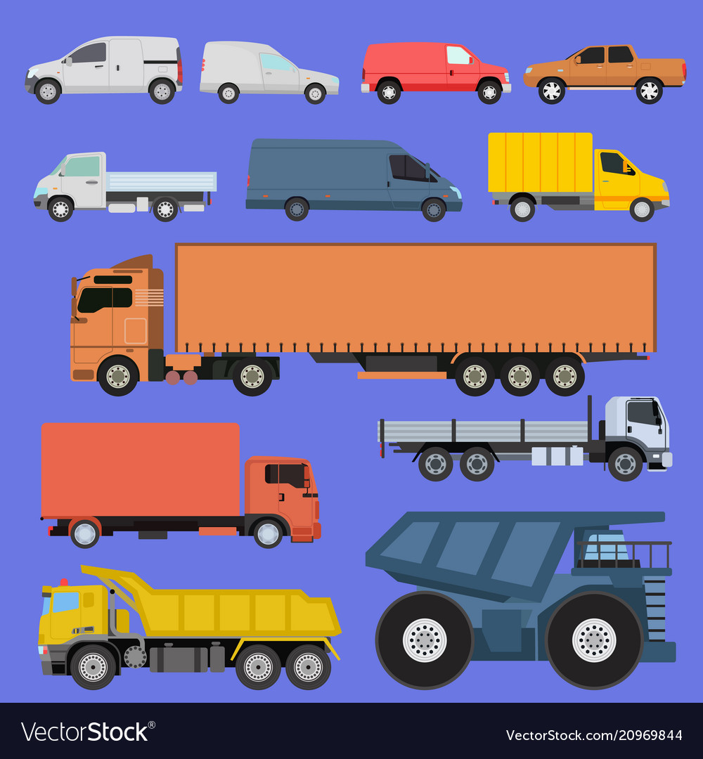Trucks icons set shipping cars vehicles