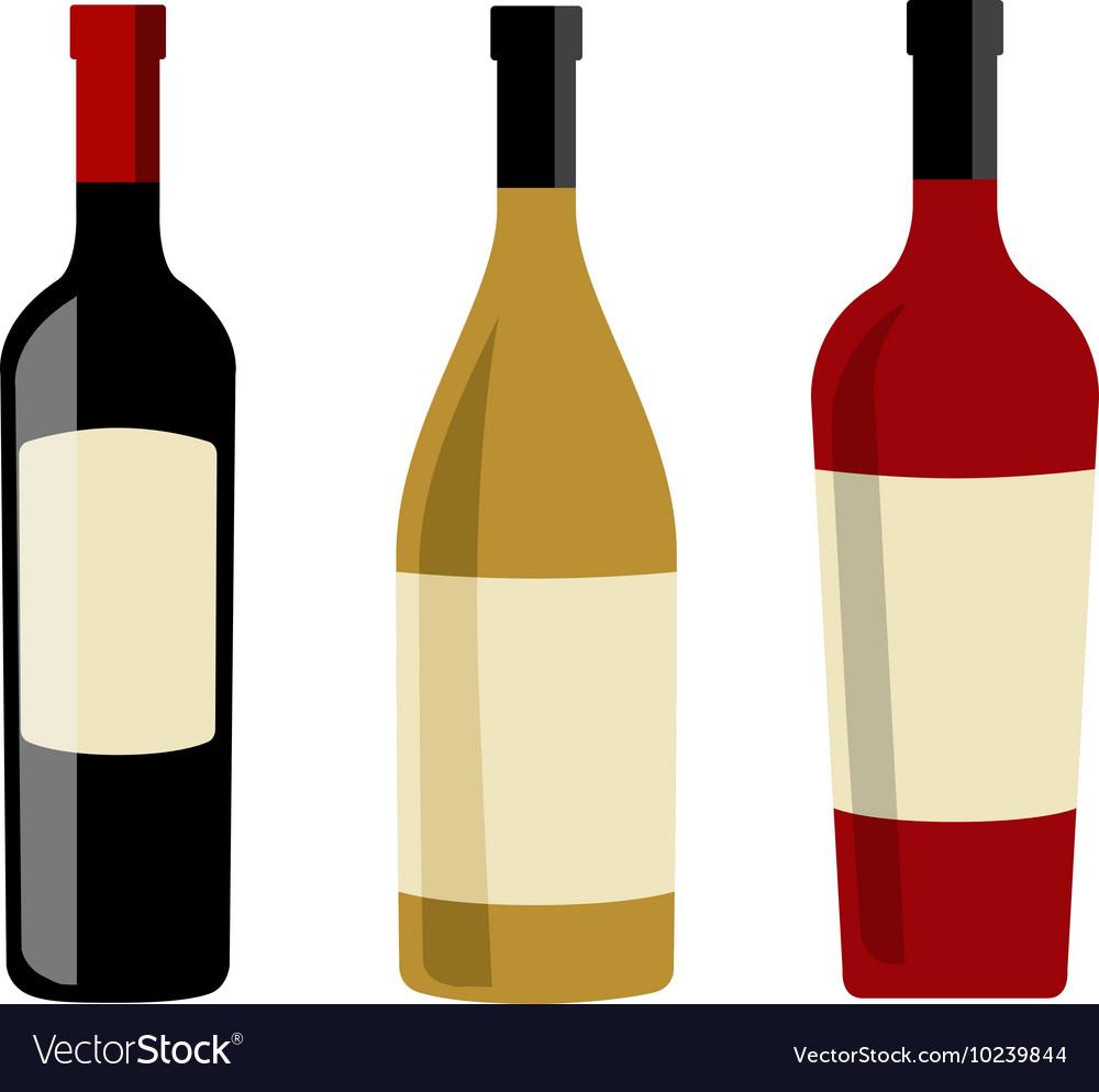 wine bottles and labels design elements template vector image